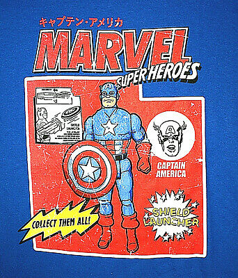 Marvel Comics Captain America Super Heroes Blue Toy Figure T-Shirt New tags XL