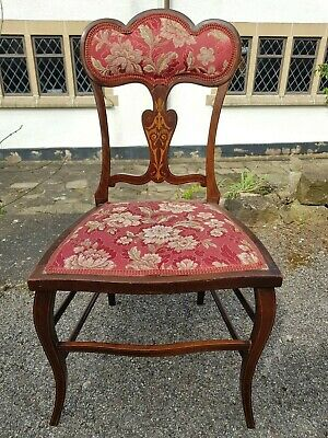 A Stunning Antique Edwardian Chair with Ornate Top & Beautiful Inlaid Detail
