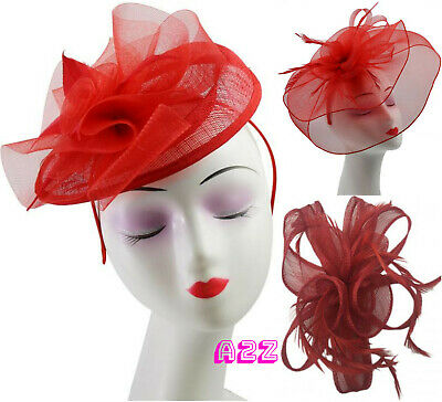 Red Mesh Flower Feather Fascinator Sinamay Curl Headpiece Ladies Day Ascot Races