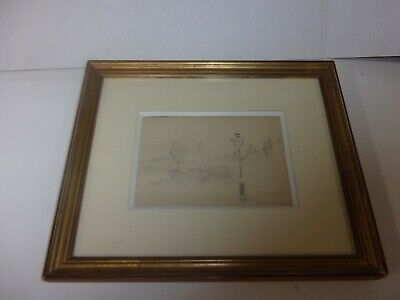 Luigi Loir signed pencil drawing framed/glass impressionism