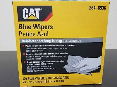 CATERPILLAR CAT 100 Count Box Blue Shop Rags - Water & Oil Absorbant - 267-6536