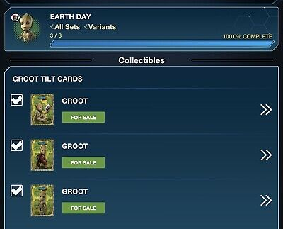 Topps Marvel Collect Card Trader I Am Groot Happy Earth Day Tilt Set of 3