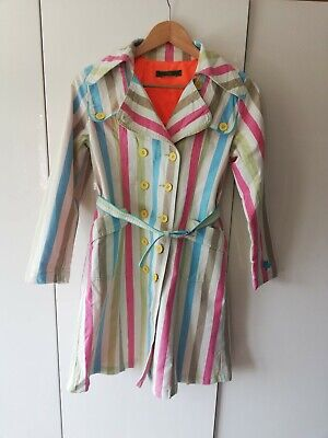 Oilily Vintage Girls Cotton Striped Trench Coat 140 (9-10yrs)