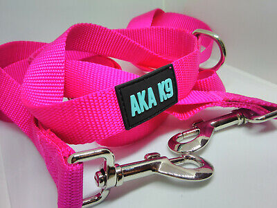 AKA K9 PINK Dog Lead Police Style Leash Multi-Function Double Ended Strong UK