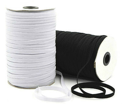 Elastic 6 Cord Flat, 5Mm Wide  Black Or White,164 Metres Ideal For Masks