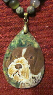 German Wirehaired Pointer hand-painted on teardrop pendant/bead/necklace