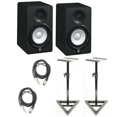 "Yamaha HS5 Powered 5"" Studio Monitoring Speakers (2) w/Cables & Monitor Stands"