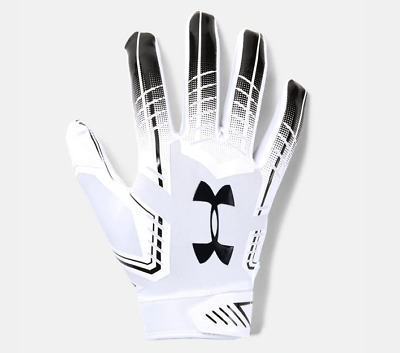 Under Armour F6 Limited Edition Lock Down Football Gloves Silver Gold Mens Sz LG