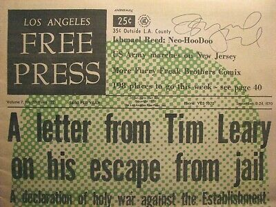 1970 L.a. Free Press – Timothy Leary – Grateful Dead – Ishmael Reed Signed Cover