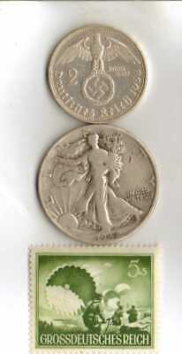 #-11)-WWII-*US and *German- SILVER  EAGLE coins + *WWII-*rare*German Stamp