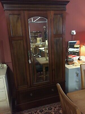 Antique Edwardian Mirrored Mahogany Wardrobe c.1910