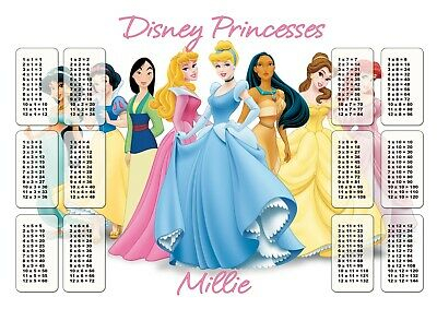 Personalised A4 laminated Times Table Disney Princesses Children Home School