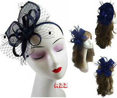 Navy Flower Feather Mesh Hat Fascinator Bird Cage Aliceband Wedding Royal Ascot