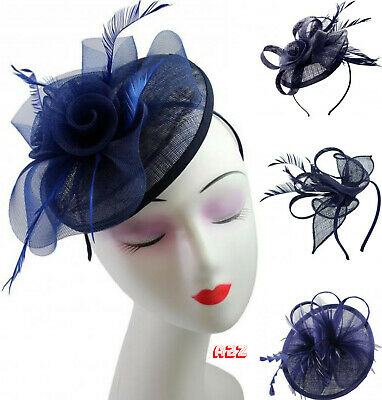 Navy Flower Feather Pillbox Clip Fascinator Wedding Ladies Day Royal Ascot Races