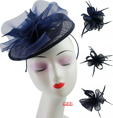 Navy Flower Feather Pillbox Clip Fascinator Wedding Headpiece Royal Ascot Races