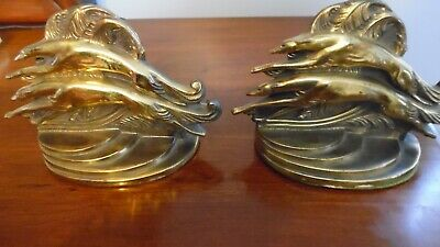 Greyhound / Borzoi Vntg Art Deco Pair of Bookends Mfg by Dodge  Very Collectible