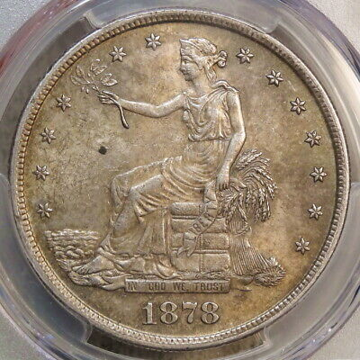 1878-S Trade Dollar, Choice Almost Uncirculated PCGS/CAC AU-58, Original Slider
