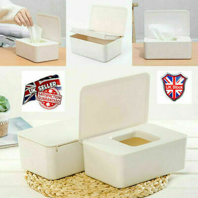 Wet Wipes Dispenser Holder Tissue Storage Box Case with Lid for Home Office UK