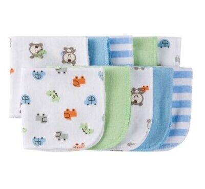 Gerber Baby Boy 10-Pack Green/Blue Bear/Dino Terry Washcloths Size 9 in. x 9 in.