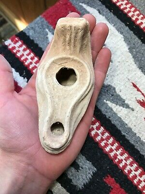 """MLC s6331 4 1/4"""" Clay Terracotta Holy Oil Lamp From The Holy Land"""
