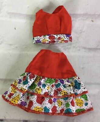 VTG Mattel Doll Clothing Genuine Barbie 80s 90s Fashion Red Patterned 2pc Outfit
