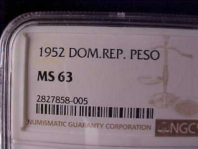 Dominican Republic One Peso 1952 Ngc Ms 63