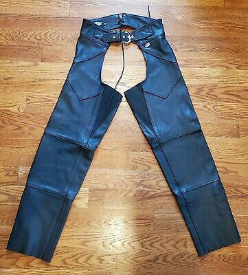 Harley Davidson Leather Black Motorcycle Chaps New Size W/L women's