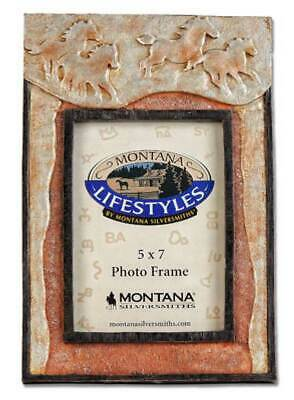 Western Decor Picture Frame with Running Horses - Montana Silversmiths