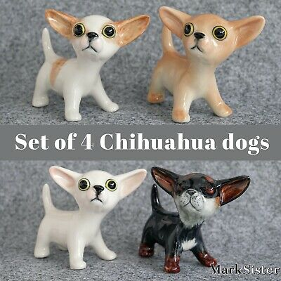 4 Chihuahua Dogs Ceramic Figurine Miniature Animal Statue - CDG0863EX
