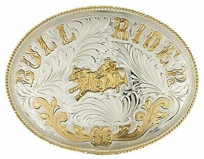 Extra-Large German Silver Tone and Gold Tone BULL RIDER Belt Buckle