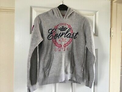 Girl's Grey and Pink Hoodie by Everlast Age 9-10 Years