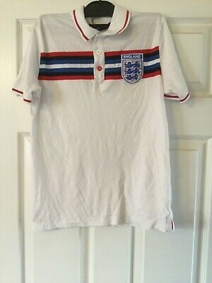 Boy's White Cotton England Polo Shirt by Marks & Spencer- age 11-12 years