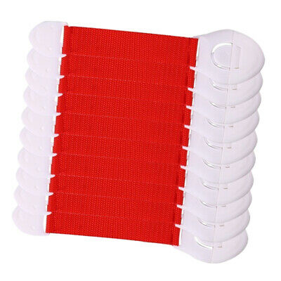 10xBaby Proofing Cabinet Lock Window Kid Protection Straps Adjustable Latch Red