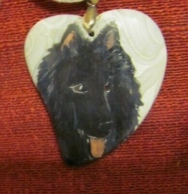 Belgian Sheepdog hand-painted on heart shaped pendant/bead/necklace