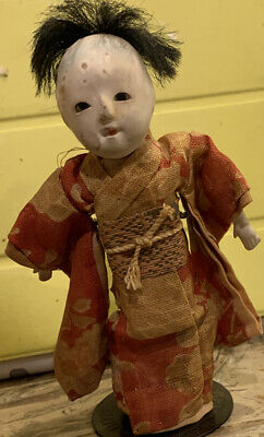 "Antique 5"" Ichimatsu Gofun Paper Mache Japanese Boy Doll - Circa 1900 Pre-Owned"