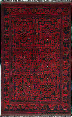 "Hand-knotted Carpet 4'1"" x 6'6"" Traditional Vintage Wool Rug"