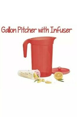 Tupperware Impressions 1 Gallon Pitcher With Infuser Red New
