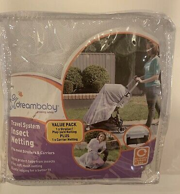 Dreambaby Travel System Insect Netting For Car Seat& Stroller-2 Piece Set-New