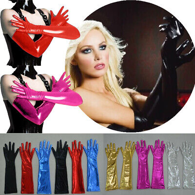 Shiny Long Gloves Stretch Wet Look Clubwear Dance House Kitchen Prom Long Glove