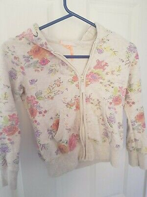 Girls Next White Flower Print Hooded Zipped Sweatshirt Top Size 10 years