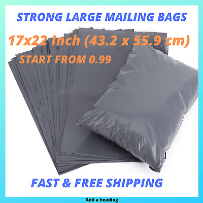 """17 x 22"""" Grey Mailing Bags Strong Parcel Postage Plastic Post Poly Self Seal UK"""
