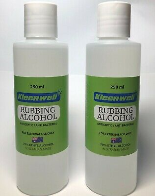 NEW Pack of Two Bottles | Rubbing Alcohol 250ml 70% Ethyl Alcohol Antiseptic