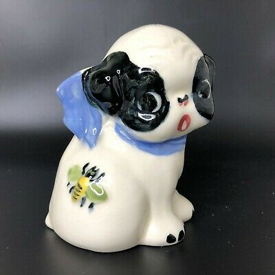 Vintage Ceramic Boston Terrier Puppy Dog Bee Bud Vase Planter Block Pottery CA