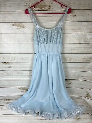 VTG faerie Surelock sheer nylon Baby Blue Nightgown Size 38 Made In USA
