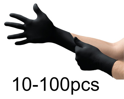 Disposable Heavy Duty Nitrile Gloves Anti Virus Free Medical Gloves Black XL