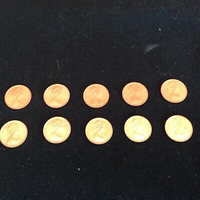 10x 1971 HALF NEW PENNY COIN ALMOST MINT CONDITION, FIRST ISSUE OF DECIMAL 1/2P