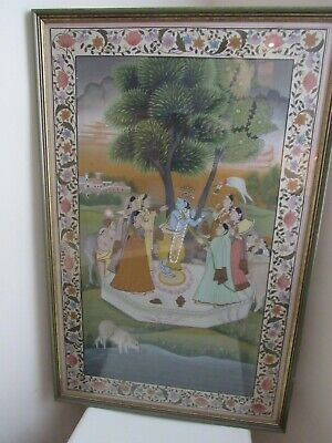 Pichhwai Hindu Painting of Krishna on Silk with People and Sacred Cow