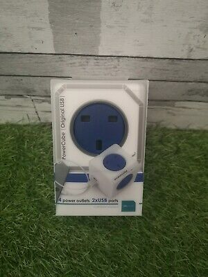 Allocacoc PowerCube Original USB 4way 2USB Wall Socket Adapter (Cobalt Blue)