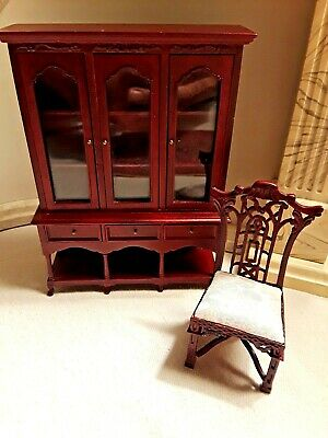 *SALE* Miniature Victorian Louis XV Roccoco Mahogany Pintuck Upholstered Arm ...