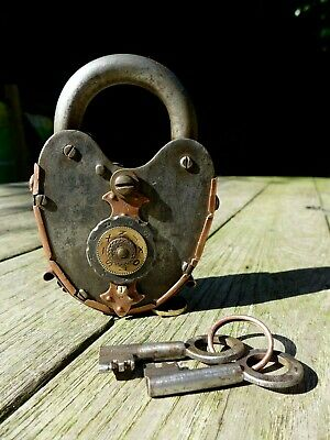 Antique padlock with two keys working order tricks to open handmade date 1928